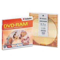 Verbatim / Smartdisk - 95002 - Verbatim DVD-RAM 4.7GB 3X Single Sided, Type 4 with Branded Surface - 1pk with Cartridge