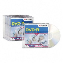 Verbatim / Smartdisk - 95099 - Verbatim AZO DVD-R 4.7GB 16X with Branded Surface - 10pk Slim Case - 2 Hour Maximum Recording Time