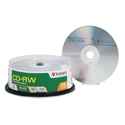 Verbatim / Smartdisk - 95169 - Verbatim CD-RW 700MB 2X-4X with Branded Surface - 25pk Spindle - CD-RW - 4x - 700 MB - 25pk Spindle