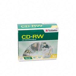 Verbatim / Smartdisk - 95170 - Verbatim CD-RW 700MB 2X-4X with Branded Surface - 10pk Slim Case - 700MB - 10 Pack