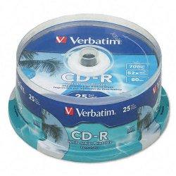 Verbatim / Smartdisk - 95252 - Verbatim CD-R 700MB 52X White Inkjet Printable, Hub Printable - 100pk Spindle - Printable - Inkjet Printable