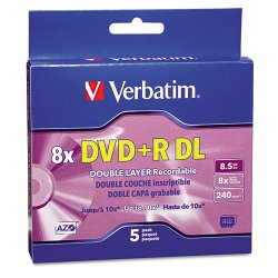 Verbatim / Smartdisk - 95311 - Verbatim DVD+R DL 8.5GB 8X with Branded Surface - 5pk Jewel Case Box