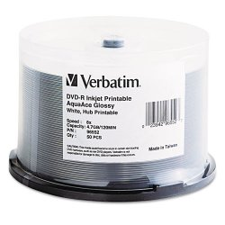 Verbatim / Smartdisk - 96552 - Verbatim DVD-R 4.7GB 8X Aqua Ace White Glossy Inkjet Printable Surface, Hub Printable - 50pk Spindle - Inkjet Printable
