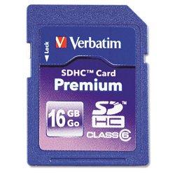Verbatim / Smartdisk - 96808 - Verbatim 16GB Premium SDHC Memory Card, UHS-I Class 10 - Class 10 - 1 Card/1 Pack - 133x Memory Speed