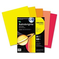 Wausau Papers - 20262 - Wausau Paper Astrobrights Warm Assortment Cover Paper - Letter - 8 1/2 x 132 - 24 lb Basis Weight