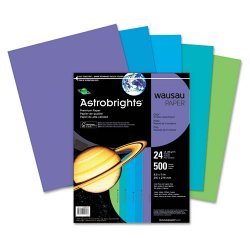 Wausau Papers - 20264 - Astro Astrobrights Cool Assortment Cover Paper - Letter - 8 1/2 x 132 - 24 lb Basis Weight