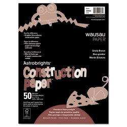 Wausau Papers - 20603 - Construction Paper, 72lb, 9 x 12, Grizzly Brown, 50 Sheets
