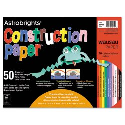 Wausau Papers - 20700 - Construction Paper, 72lb, 12 x 18, Assorted, 50 Sheets