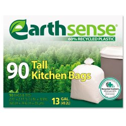 Webster - GES6K90 - Recycled Can Liners, 13gal, .7 Mil, 23 3/4 x 28, White, 90 Bags/Box