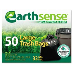 Webster - GES6TL50 - Large Trash Bags, 33gal, .75mil, 32.5 x 40, Black, 50 Bags/Box