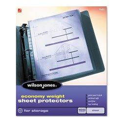Wilson Jones - 21423 - Economy Weight Top-Loading Sheet Protectors, Semi-Clear Finish, Letter, 100/Box