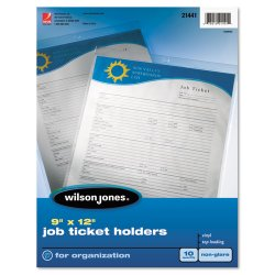 Wilson Jones - 21441 - Top-Loading Job Ticket Holder, Nonglare Finish, 9 x 12, Clear/Frosted, 10/Pack