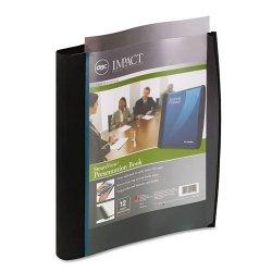 Wilson Jones - 21514 - Smart-View Multi-Ring Presentation Book, 12 Letter-Size Sleeves, Black/Blue