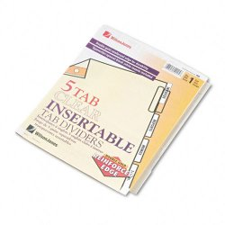 Wilson Jones - W54125A - Gold Pro Insertable Tab Index, Clear 5-Tab, Letter, Buff Sheets