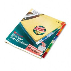 Wilson Jones - W54130N - Gold Pro Insertable Tab Index, Multicolor 8-Tab, Letter, Buff Sheets