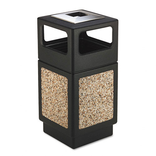 Safco - 9473NC - Canmeleon Ash/Trash Receptacle, Square, Aggregate/Polyethylene, 38gal, Black
