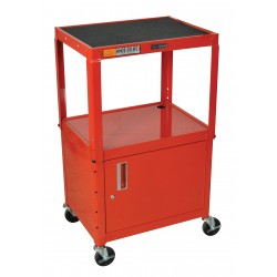 Luxor / H Wilson - AVJ42C-RD - Luxor AVJ42C-RD 24 x 18-Inch Red Adjustable Height Metal A/V Cart with Cabinet
