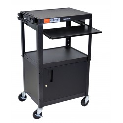 Luxor / H Wilson - AVJ42KBC - Luxor Adjustable Height Black Metal A/V Cart w/ Pullout Keyboard Tray and Cabinet