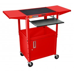 Luxor / H Wilson - AVJ42KBCDL-RD - Luxor Adjustable Height Red Metal A/V Cart w/ Pullout Keyboard Tray, Cabinet & 2 Drop Leaf Shelves