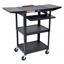 Luxor / H Wilson - AVJ42KBDL - Luxor Adjustable Height Black Metal A/V Cart w/ Pullout Keyboard Tray & 2 Drop Leaf Shelves