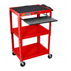 Luxor / H Wilson - AVJ42KB-RD - Luxor AVJ42KB-RD 24 x 18-Inch Red Adjustable Height Metal A/V cart with Tray
