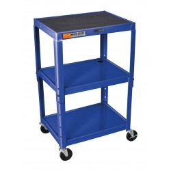 Luxor / H Wilson - AVJ42-RB - Luxor AVJ42-RB 24 x 18-Inch Blue Adjustable Height Metal A/V Cart