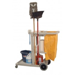 Luxor / H Wilson - JCB8 - Luxor Janitor Cart with Orange Nylon Trash Bag - 3 Shelf - 8 Caster - Polyethylene - 36 x 17 x 38 - Gray
