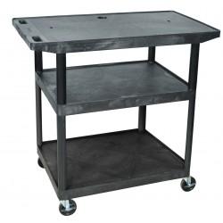 Luxor / H Wilson - LE40WT-B - Luxor LE40WT - Endura Wide Top AV Cart 3 Shelves - 50 - 3 x Shelf(ves) - Hinged Door - 40.3 Height x 42 Width x 24 Depth - Powder Coated - Plastic - Black
