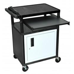 Luxor / H Wilson - LP34CLE-B - Luxor LP34CLE-B - AV Cart 3 Shelves - 3 Shelf - 400 lb Capacity - 4 Caster Size - Polyethylene, Foam, Plastic - 24 Width x 34 Height - Black