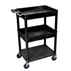 Luxor / H Wilson - STC112-B - Luxor STC112-B 24 x 18-Inch Black Plastic 2 Tub and 1 Flat Shelf Utility Cart