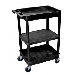 Luxor / H Wilson - STC121-B - Luxor STC121-B 24 x 18-Inch Black Plastic Multi-Purpose 3 Shelf Utility Cart