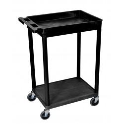 Luxor / H Wilson - STC12-B - Luxor STC12-B 24 x 18-Inch Black Plastic Multi-Purpose 2 Shelf Roll Utility Cart