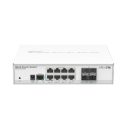 MikroTik - CRS112-8G-4S-IN - Cloud Router Switch 112-8G-4S-IN with QCA8511 400MHz CPU, 128MB RAM, 8x Gigabit LAN, 4x SFP, RouterOS L5, desktop case, PSU