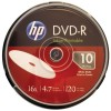 Hewlett Packard (HP) - DM16WJH010CB - HP DM16WJH010CB 4.7GB 16x Printable DVD-Rs, 10-ct Spindle