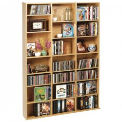 Atlantic - 38435712 - Oskar Wood Mm Cabinet Maple Holds 756 Cds Or 360 Dvds/blu-rays