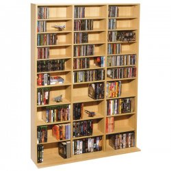Atlantic - 38435715 - Oskar Wood Mm Cabinet Maple Holds 1080 Cds Or 504 Dvds/blu-rays
