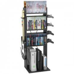 "Atlantic - 38806136 - Atlantic Game Central M Rack - 2 x Guitar, 2 x Controller, 60 x DVD, 96 x Blu-ray - 36.5"" Height x 11.3"" Width - Floor - Black - Wood, Steel"