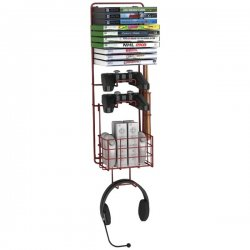 "Atlantic - 38806137 - Atlantic Wall Mount Game Rack - 2 x Controller, 2 x Drumstick, 1 x Headphone, 10 x Game - 24.3"" Height x 5.4"" Width - Wall Mountable - Deep Red Metallic - Steel"
