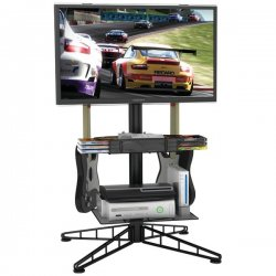 Atlantic - 88307053 - Atlantic Spyder TV Gaming Stand - Up to 42 Screen Support - 80 lb Load Capacity - 44 Height x 23 Width - Powder Coated - Steel - Black