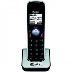 AT&T - TL86009 - AT&T TL86009 DECT 6.0 Accessory Handset for AT&T TL86109, Black - Cordless - Headset Port - Silver