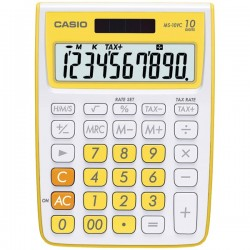Casio - MS-10VC-YW - Casio MS-10VC Desktop Calculator - 10 Digits - LCD - Battery/Solar Powered - 1 x 4.2 x 5.7 - Fresh Yellow