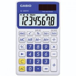 Casio - SL300VCBESIH - Casio SL-300VC Pocket Calculator - 8 Digits - LCD - Battery/Solar Powered - 0.3 x 2.8 x 4.7 - Blue