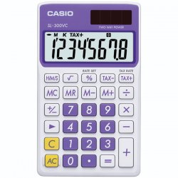 Casio - SL-300VC-PL - Casio SL-300VC Pocket Calculator - 8 Digits - LCD - Battery/Solar Powered - 0.3 x 2.8 x 4.7