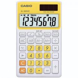 Casio - SL-300VC-YW - Casio SL-300VC Portable Calculator - 8 Digits - Battery/Solar Powered - Fresh Yellow