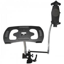 CTA Digital - PAD-DLT - CTA Digital Heavy-Duty Dual Gooseneck Laptop Tablet Clamp Stand - Black