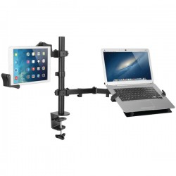 CTA Digital - PAD-HLTAM - CTA Digital Articulating Height Adjustable Laptop Tablet Arm Mount 360 Rotate - 15 Screen Support - Black