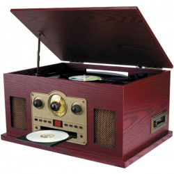 Osram - SRCD838 - SYLVANIA(R) SRCD838 Nostalgia 5-in-1 Turntable/CD/Radio/Cassette Player with Auxiliary Input