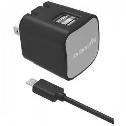 DigiPower - IS-AC2DM - DigiPower Dual USB Wall Charger Kit IS-AC2DM - 12 W Output Power - 120 V AC, 230 V AC Input Voltage - 5 V DC Output Voltage - 2.40 A Output Current