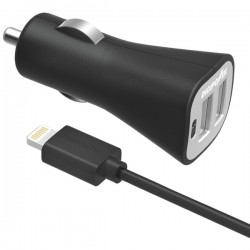 DigiPower - IS-PC2DL - DIGIPOWER(R) IS-PC2DL InstaSense(TM) 2.4-Amp Dual-Port Car Charger with 5ft USB Cable with Lightning(R) Connector