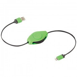 Retrak / Emerge - ETLTUSBGN - ReTrak(R) ETLTUSBGN Retractable Charge & Sync USB Cable with Lightning(R) Connector (Green)